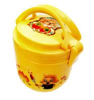 Ланч - бокс два яруса + ложка и тарелка. Контейнер для продуктов. Желтый