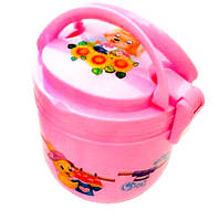 Ланч - бокс два яруса + ложка и тарелка. Контейнер для продуктов. Розовый