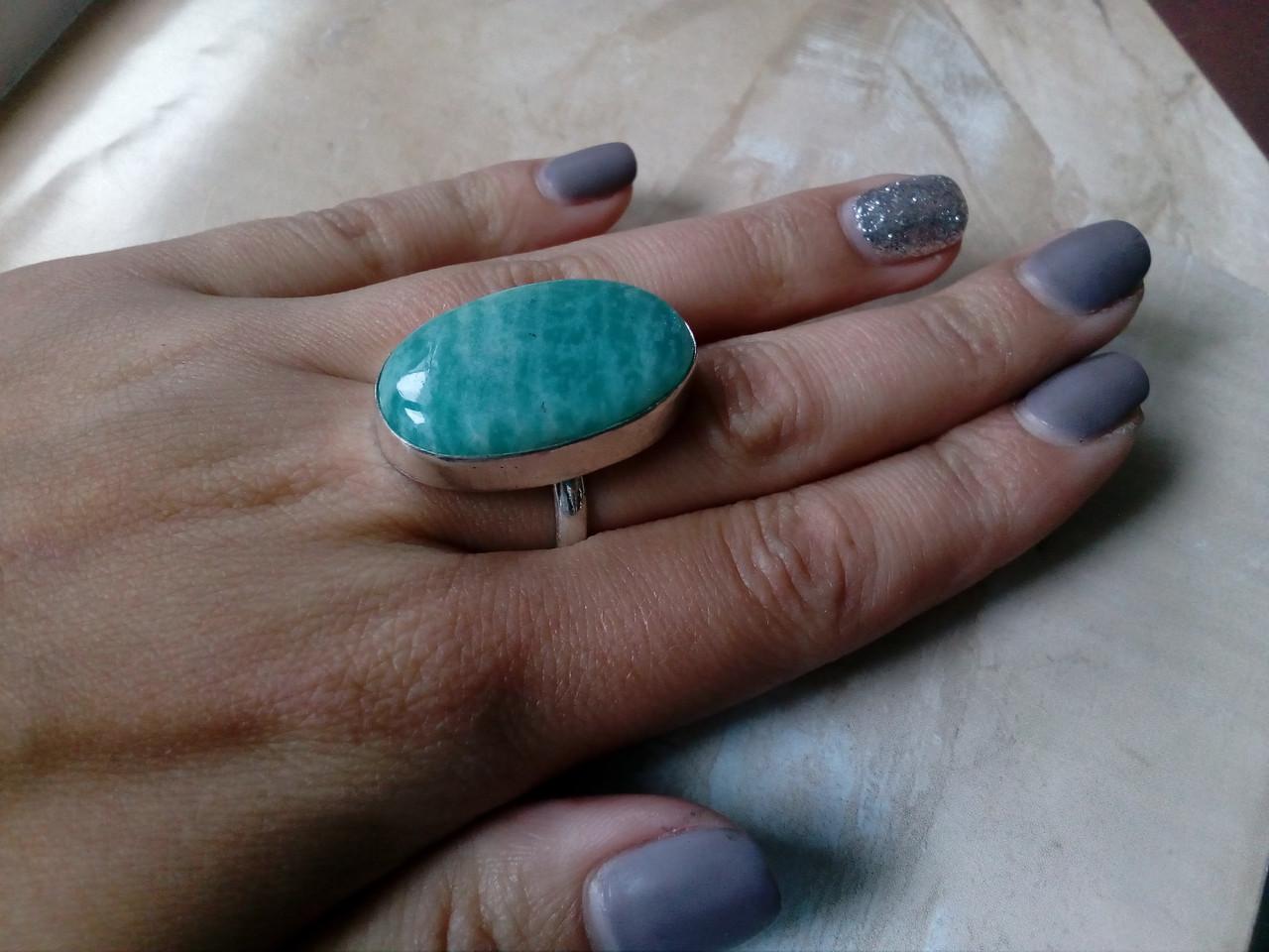 Амазонит овальное кольцо с амазонитом в серебре. Природный амазонит 18,75-19 размер Индия