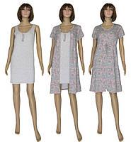 NEW! Нежные женские комплекты из хлопка - ночная рубашка и платье-халат - серия Fashion Patterns Grey ТМ УКРТРИКОТАЖ!