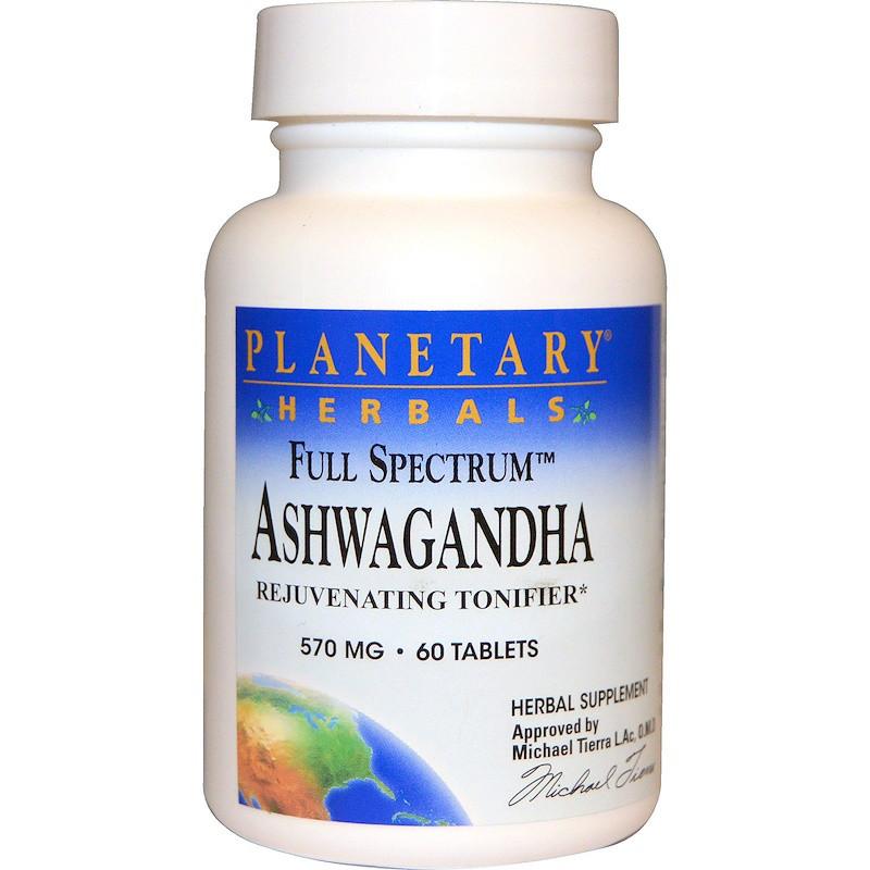 Ашваганда, Ashwagandha, Planetary Herbals, 570 мг, 60 таблеток