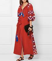 Вишите червоне плаття з машинною вишивкою