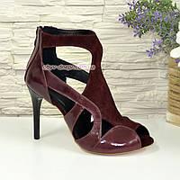Элегантные босоножки на шпильке, натуральная кожа и замша бордового цвета . 36 размер