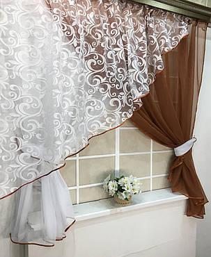 """Кухонные шторы """"Луиза"""" Коричневая, фото 2"""