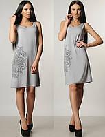 Платье летнее миди повседневное женскоетрикотажное черный сарафан