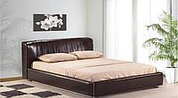 """Мягкая кровать из эко-кожи """"Релакс"""" в коричневом цвете с подъемным механизмом"""