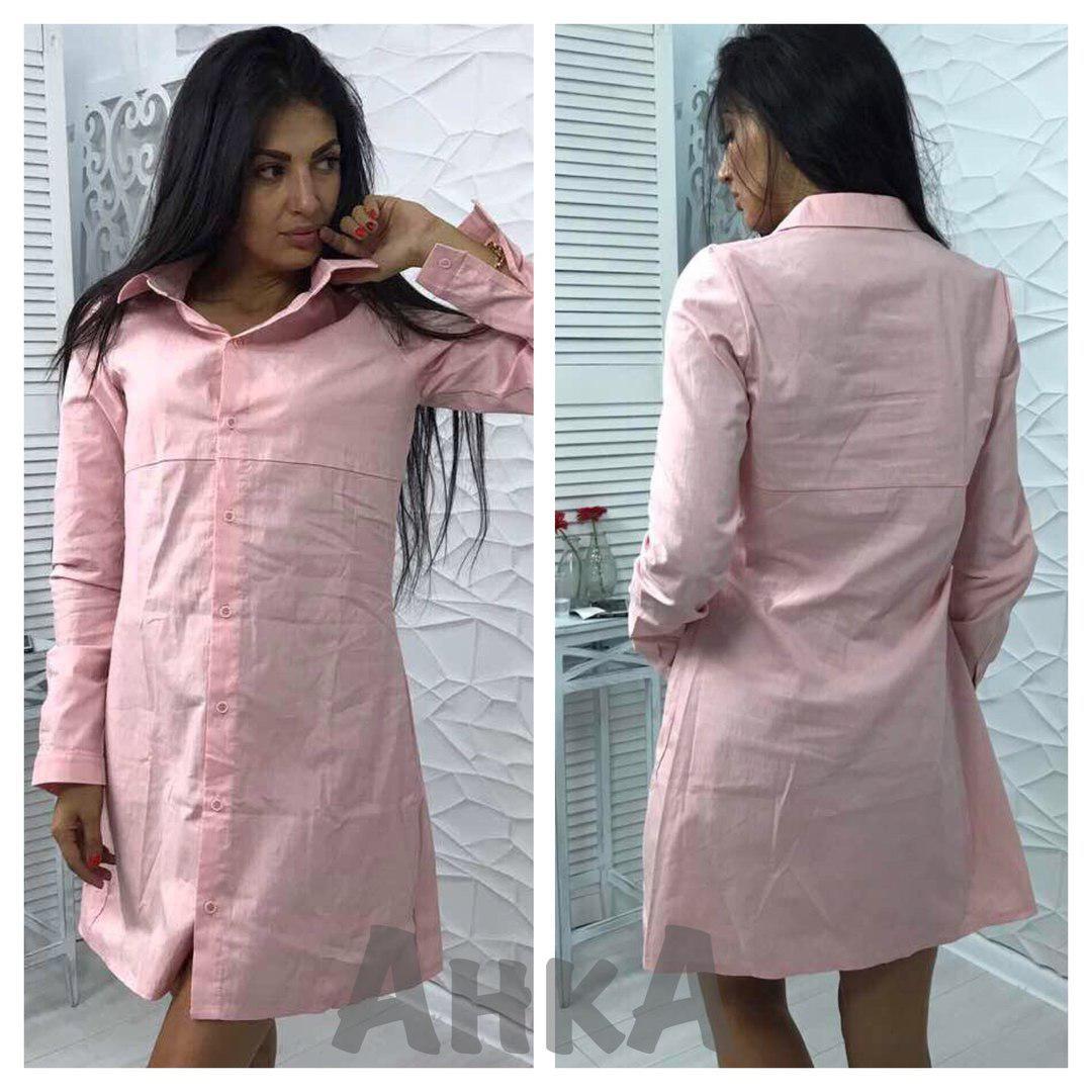 Платье-рубашка,свободное. Х/б