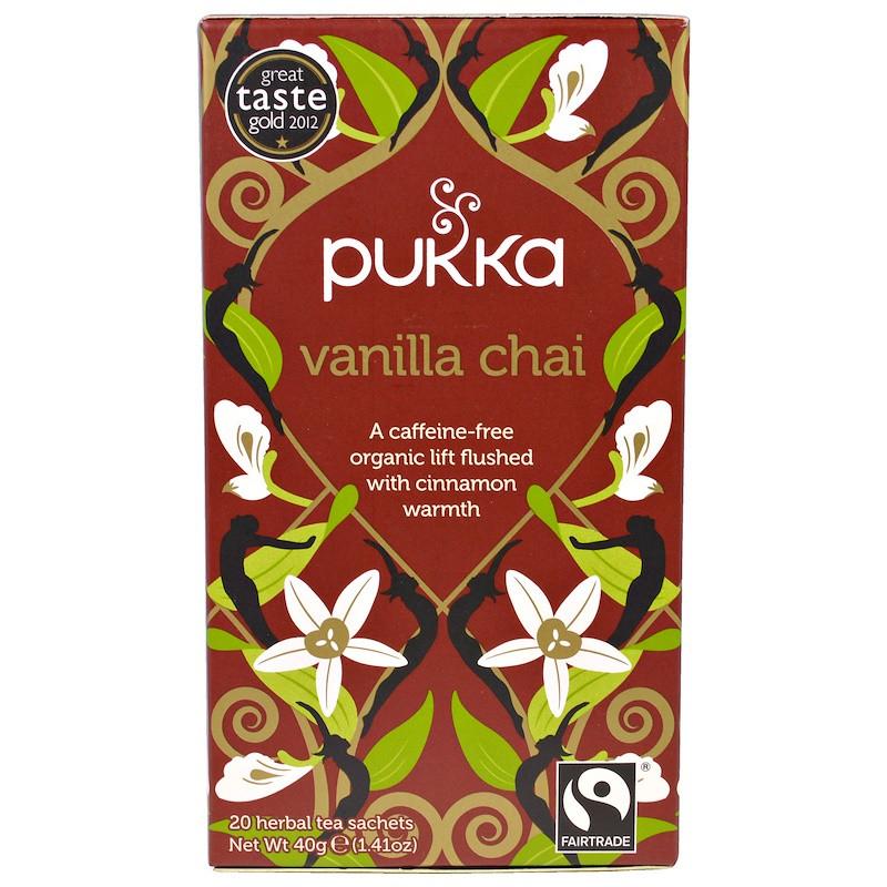 Pukka Herbs, Ванильный чай, без кофеина, 20 пакетиков, 1,41 унции (40 г)