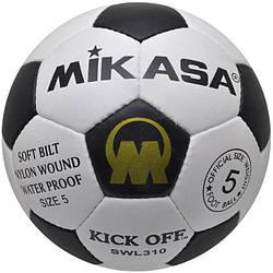 Мяч футбольный №5 кожаный  Mikasa SWL-310 MK-4-1LTH чорно золотой