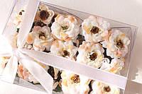 Набор декоративных цветочков с листиками в коробочке кремового, персикового цвета, фото 1