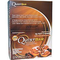 Quest Nutrition, QuestBar, протеиновый батончик, коричный ролл, 12 батончиков, 2,1 унции (60 г) каждый