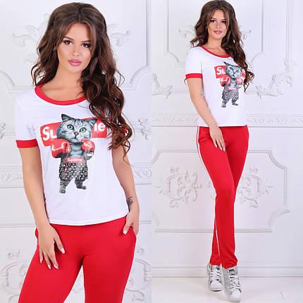 """Молодежный женский костюм-двойка """"Supreme"""" с футболкой и карманами, фото 2"""