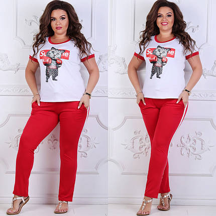 """Молодежный женский костюм-двойка """"Supreme"""" с футболкой и карманами (большие размеры), фото 2"""