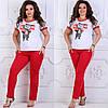 """Молодежный женский костюм-двойка """"Supreme"""" с футболкой и карманами (большие размеры)"""