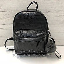 Большой рюкзак с помпоном под фактуру крокодила арт.0507-L Черный