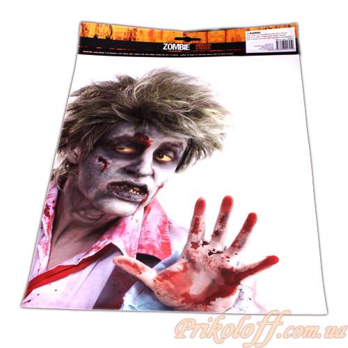 """Декор на хеллоуин, наклейка на стекло """"Зомби"""""""