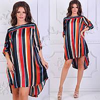 8559963782c6 Асимметричное шелковое мини-платье в полоску