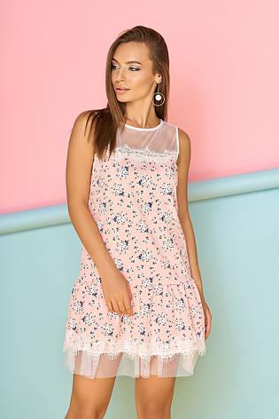 55374e7525c672d Широкое летнее мини платье с цветочным принтом и рюшами
