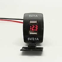 12V Dual USB Power Charger Разъем Вт / LED Вольтметр Напряжение для мотоцикл Авто Лодка, фото 2