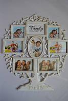 Рамка коллаж WT-108 Family 8 фото белая c золотом