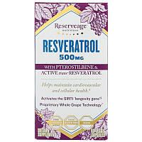 Ресвератрол и Птеростильбен, Resveratrol Pterostilbene, ReserveAge Organics, 500 мг