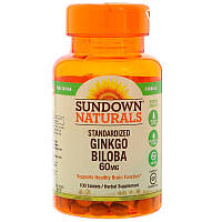 Гинкго Билоба, 60 мг, 100 таблеток, Rexall Sundown Naturals, Ginkgo Biloba, Standardized Extract