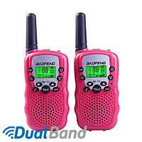 Комплект из двух раций Baofeng BF-T3 + батарейки розовый