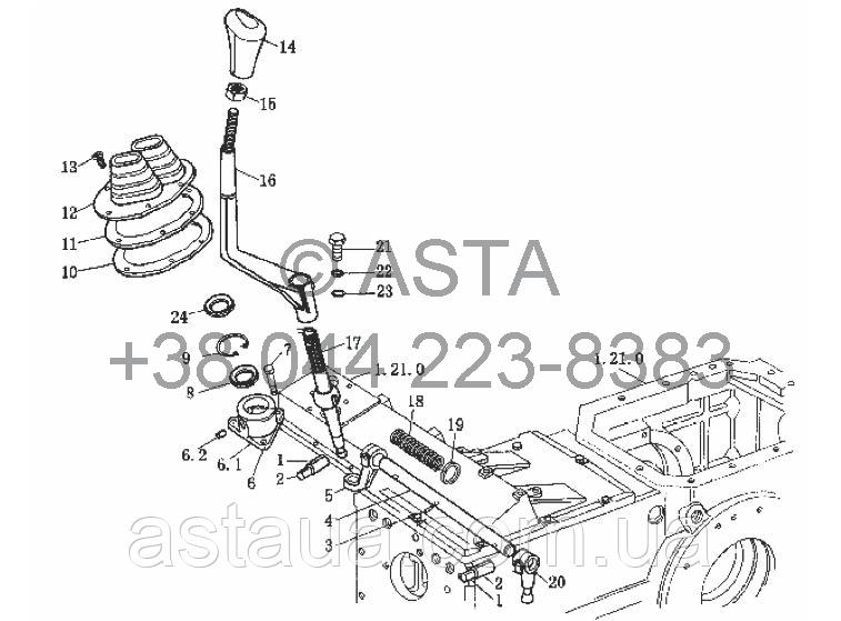 Устройство переключения передач на YTO-X704