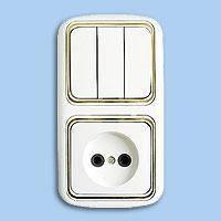 3В-РЦ-537 Блок выключатель 3-й+розетка внутр.золото Беларусь