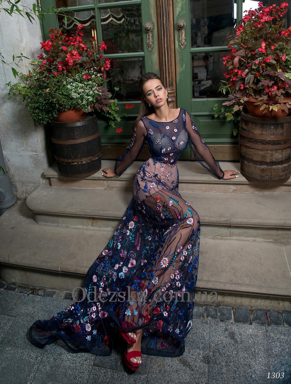 Нежное романтичное вечернее платье полностью выполнено сеткой