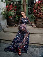 Нежное романтичное вечернее платье полностью выполнено сеткой, фото 1