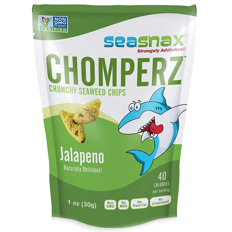 SeaSnax, Chomperz, хрустящие чипсы из морских водорослей, с перцем халапеньо, 1 унций (30 г)