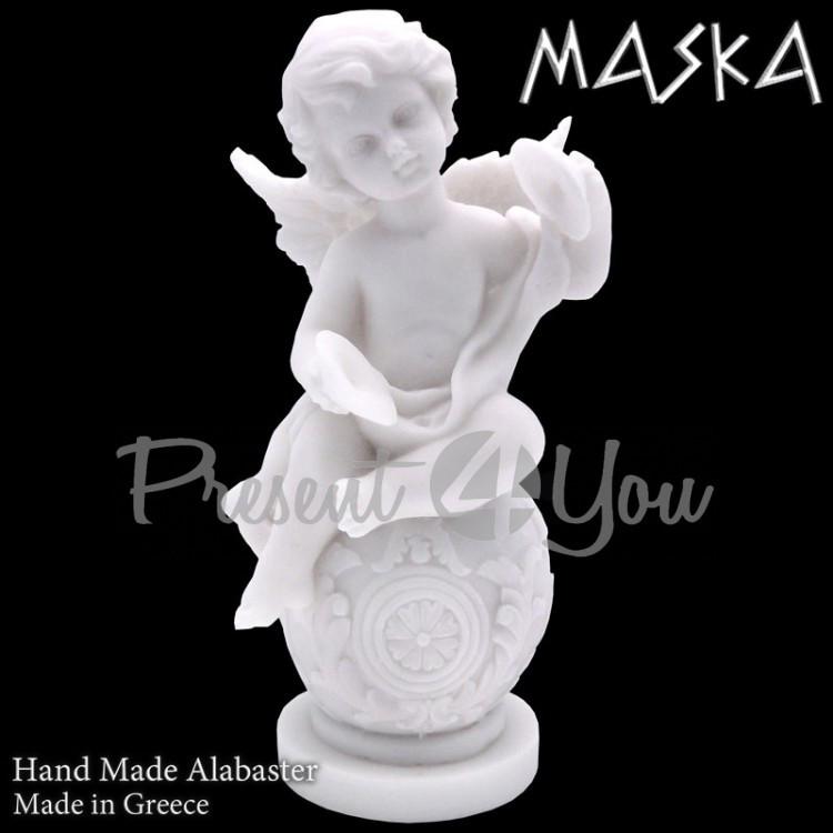 Фигурка- статуэтка из алебастра «Ангелочек с музыкальными тарелками» Греция, h-15 см (395-0637)