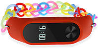Ремешок UWatch Fashion Rainbow Color Elastic Stretch Replacement Silicone Strap For Xiaomi Band 2 Red