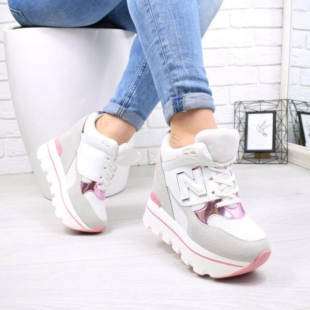 Кроссовки женские на платформе белые с розовым N 5037, цена 580 грн ... 71998f27573