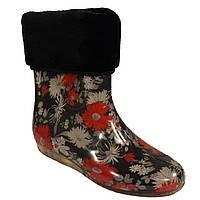 Женские силиконовые сапоги с меховым утеплителем Хризантемы на черном
