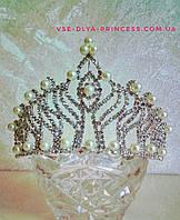 Корона под серебро с жемчугом, диадема, тиара, высота 8 см., фото 1