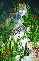 Схема для вышивки бисером «Волки в лесу»