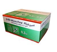 Шприц инсулиновый BD Micro-Fine Demi (Микрофайн)  U-100 0.3 мл, игла 0.3х8мм (100шт в уп)