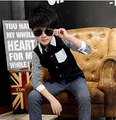 Детская рубашка для мальчиков стильный дизайн код 16006