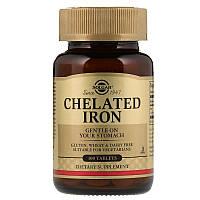Хелат Железа, Chelated Iron, Solgar, 100 таблеток