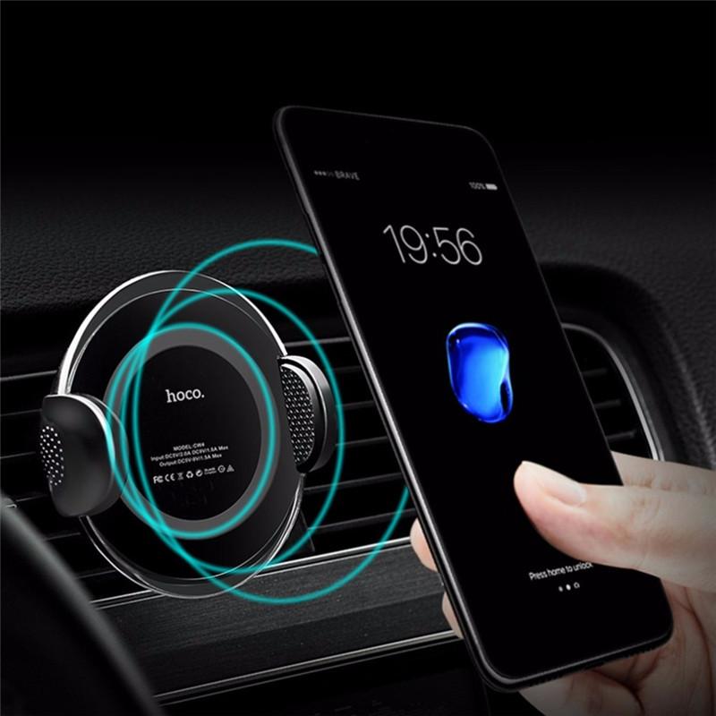 HOCO 10W Qi Беспроводная быстрая зарядка Полуавтоматическая Замок Авто Подставка для приборной панели держателя для iPhone 8 X 1TopShop