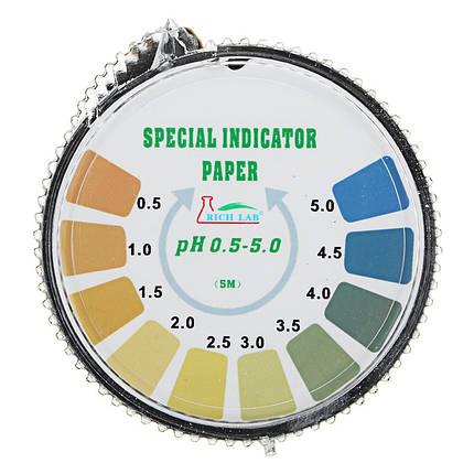 Прецизионные тест-полоски для теста PH с коротким диапазоном 0.5-5.0 Индикаторная бумага для тестера Диспенсер Цветная диаграмма 5 м / 16.4 фута, фото 2