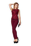 Женский нарядный бордовый костюм