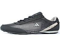 Мужские кроссовки летние реплика Adidas кожа + сетка (А-390ср)
