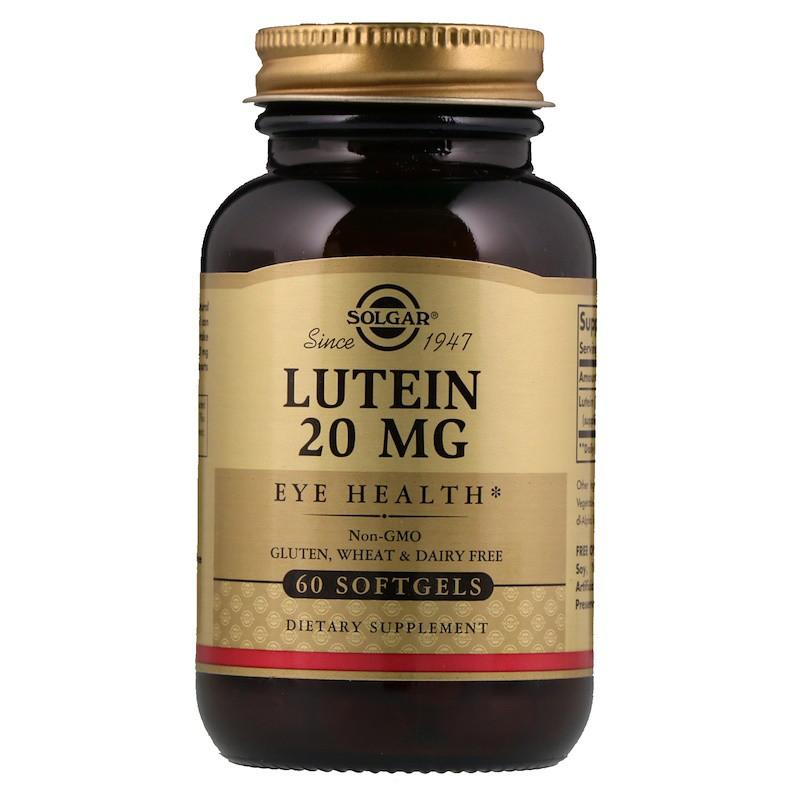 Лютеин, Lutein, Solgar, 20 мг, 60  капсул