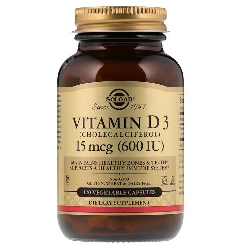 Витамин Д3, Vitamin D3, Solgar, 600 МЕ, 120 капсул