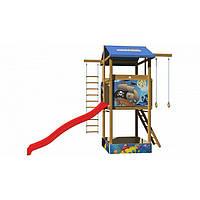 Детская игровая башня с песочницей и горкой