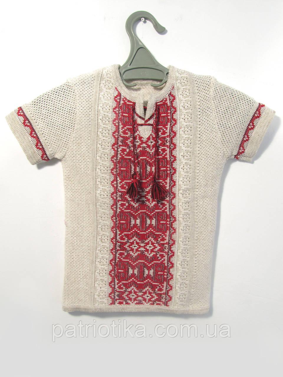 Вязаная вышиванка с коротким рукавом для мальчика| В'язана вишиванка з коротким рукавом для хлопчика