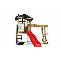 Детская игровая башня с рукоходом, песочницей и горкой